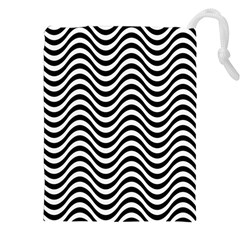 Wave Pattern Drawstring Pouch (xxl) by Jojostore