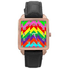 Vibrant Color Pattern Rose Gold Leather Watch