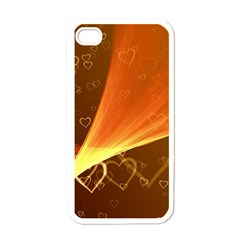 Valentine Heart Love Gold Apple Iphone 4 Case (white) by AnjaniArt