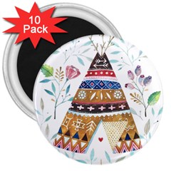 Triangle Tent 3  Magnets (10 Pack)
