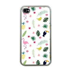 Tropical Vector Elements Peacock Apple Iphone 4 Case (clear)