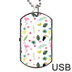 Tropical Vector Elements Peacock Dog Tag Usb Flash (two Sides)