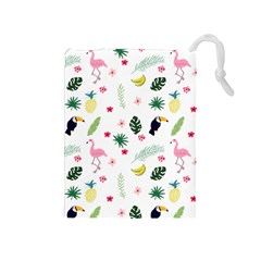 Tropical Vector Elements Peacock Drawstring Pouch (medium)
