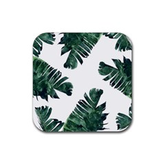 Watercolor Dark Green Banana Leaf Rubber Square Coaster (4 Pack)