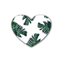 Watercolor Dark Green Banana Leaf Rubber Coaster (heart)