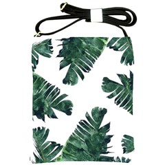Watercolor Dark Green Banana Leaf Shoulder Sling Bag by Alisyart