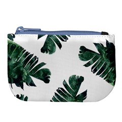 Watercolor Dark Green Banana Leaf Large Coin Purse