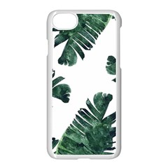 Watercolor Dark Green Banana Leaf Apple Iphone 8 Seamless Case (white)
