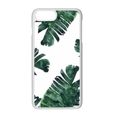 Watercolor Dark Green Banana Leaf Apple Iphone 8 Plus Seamless Case (white)