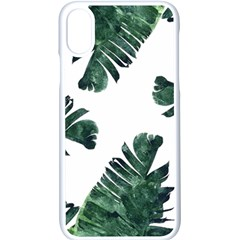 Watercolor Dark Green Banana Leaf Apple Iphone X Seamless Case (white)