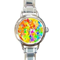 Watercolor Paint Blend Round Italian Charm Watch