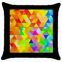 Watercolor Paint Blend Throw Pillow Case (black)