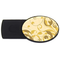 Floral Decoration Flowers Brown Usb Flash Drive Oval (2 Gb)