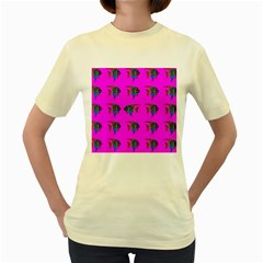 Opposite Way Fish Swimming Women s Yellow T Shirt