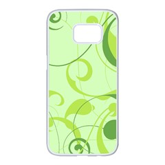 Floral Decoration Flowers Green Samsung Galaxy S7 Edge White Seamless Case