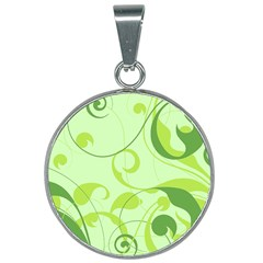 Floral Decoration Flowers Green 25mm Round Necklace