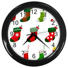 Christmas Stocking Candle Wall Clock (black)