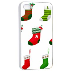 Christmas Stocking Candle Apple Iphone 4/4s Seamless Case (white) by Mariart