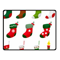 Christmas Stocking Candle Double Sided Fleece Blanket (small)
