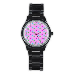Birds Background Pattern Stainless Steel Round Watch by AnjaniArt