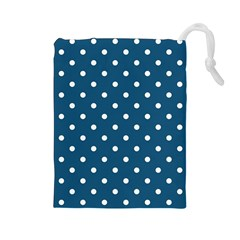 Polka Dot - Turquoise  Drawstring Pouch (large) by WensdaiAmbrose