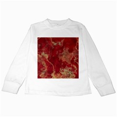 Marble Red Yellow Background Kids Long Sleeve T Shirts by Jojostore