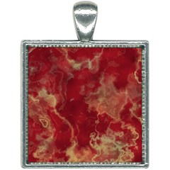 Marble Red Yellow Background Square Necklace by Jojostore