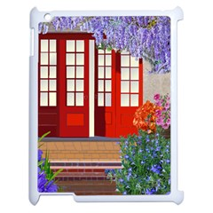 Garden Flowers Nature Red Pink Apple Ipad 2 Case (white) by Jojostore