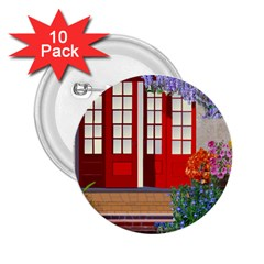 Garden Flowers Nature Red Pink 2 25  Buttons (10 Pack)