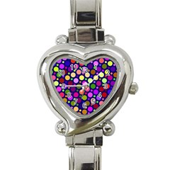 Circle District Colorful Structure Heart Italian Charm Watch by Jojostore