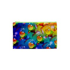 Abstract Fish Background Backdrop Cosmetic Bag (xs)