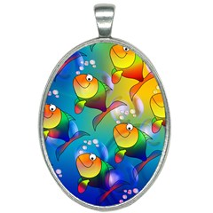 Abstract Fish Background Backdrop Oval Necklace by Jojostore