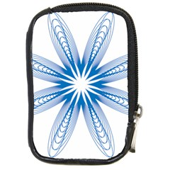 Spirograph Blue Circle Geometric Compact Camera Leather Case by Jojostore