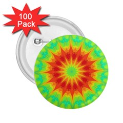 Kaleidoscope Background Mandala Red Green 2 25  Buttons (100 Pack)
