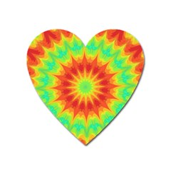Kaleidoscope Background Mandala Red Green Heart Magnet by Mariart