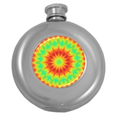 Kaleidoscope Background Mandala Red Green Round Hip Flask (5 Oz) by Mariart