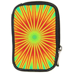 Kaleidoscope Background Mandala Red,green Sun Compact Camera Leather Case by Mariart