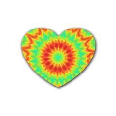 Kaleidoscope Background Red Yellow Rubber Coaster (heart)