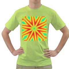 Kaleidoscope Background Star Green T Shirt by Mariart