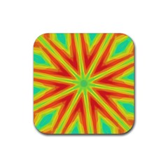 Kaleidoscope Background Star Rubber Square Coaster (4 Pack)