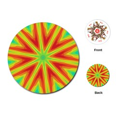 Kaleidoscope Background Star Playing Cards (round)