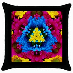 Flowers Kaleidoscope Mandala Throw Pillow Case (black) by Mariart