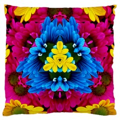 Flowers Kaleidoscope Mandala Large Cushion Case (one Side) by Mariart