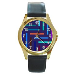 Line Background Abstract Round Gold Metal Watch by Mariart