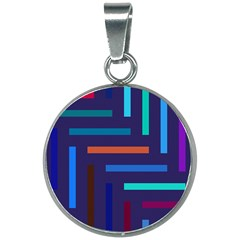 Line Background Abstract 20mm Round Necklace