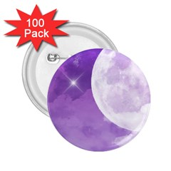 Purple Sky Star Moon Clouds 2 25  Buttons (100 Pack)