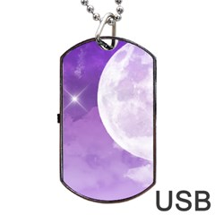 Purple Sky Star Moon Clouds Dog Tag Usb Flash (two Sides) by Mariart