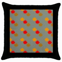 Fall Leaves Autumn Leaves Throw Pillow Case (black)