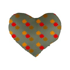 Fall Leaves Autumn Leaves Standard 16  Premium Heart Shape Cushions