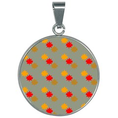 Fall Leaves Autumn Leaves 30mm Round Necklace by AnjaniArt